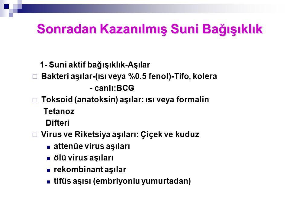1- Suni aktif bağışıklık-Aşılar  Bakteri aşılar-(ısı veya %0.5 fenol)-Tifo, kolera - canlı:BCG  Toksoid (anatoksin) aşılar: ısı veya formalin Tetano