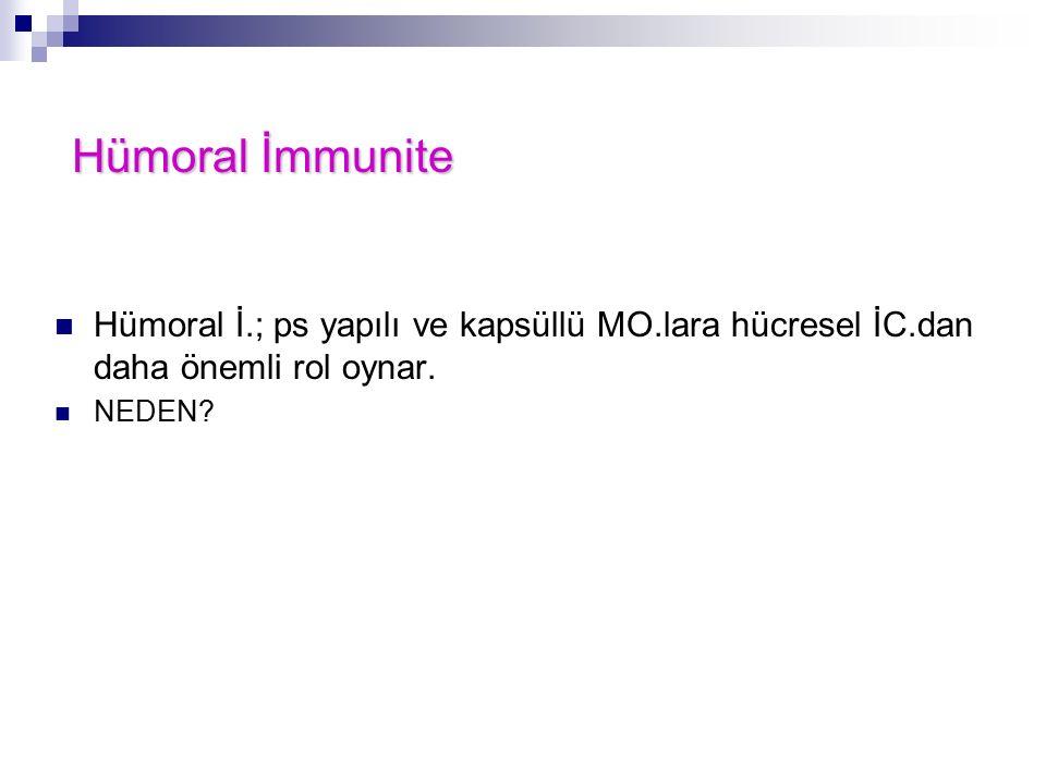 Hümoral İ.; ps yapılı ve kapsüllü MO.lara hücresel İC.dan daha önemli rol oynar. NEDEN? Hümoral İmmunite