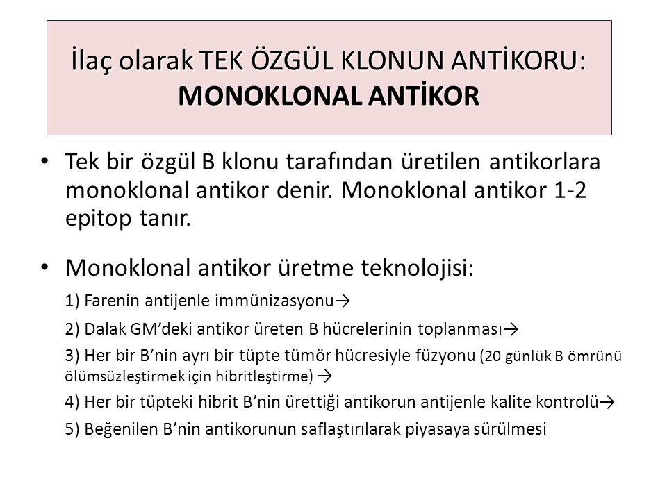 İlaç olarak TEK ÖZGÜL KLONUN ANTİKORU: MONOKLONAL ANTİKOR Tek bir özgül B klonu tarafından üretilen antikorlara monoklonal antikor denir. Monoklonal a