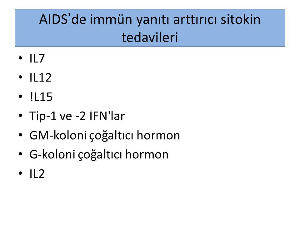 AIDS'de immün yanıtı arttırıcı sitokin tedavileri IL7 IL12 !L15 Tip-1 ve -2 IFN'lar GM-koloni çoğaltıcı hormon G-koloni çoğaltıcı hormon IL2