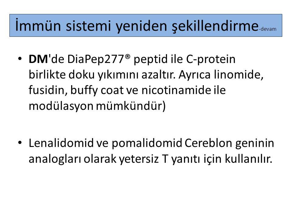 İmmün sistemi yeniden şekillendirme -devam DM'de DiaPep277® peptid ile C-protein birlikte doku yıkımını azaltır. Ayrıca linomide, fusidin, buffy coat