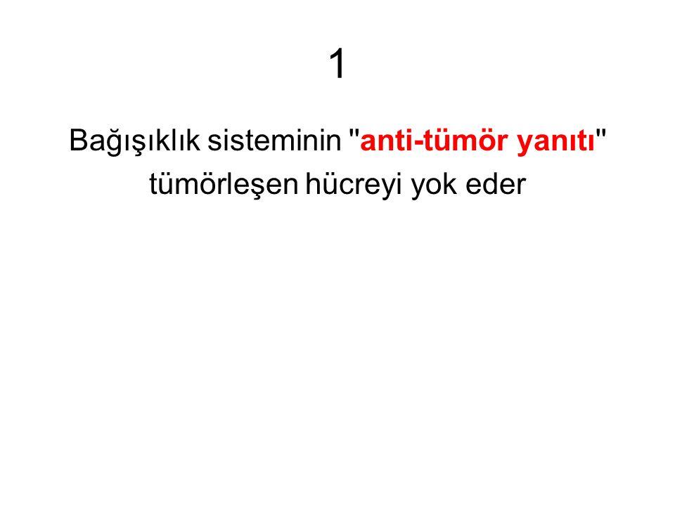 1 Bağışıklık sisteminin ''anti-tümör yanıtı'' tümörleşen hücreyi yok eder
