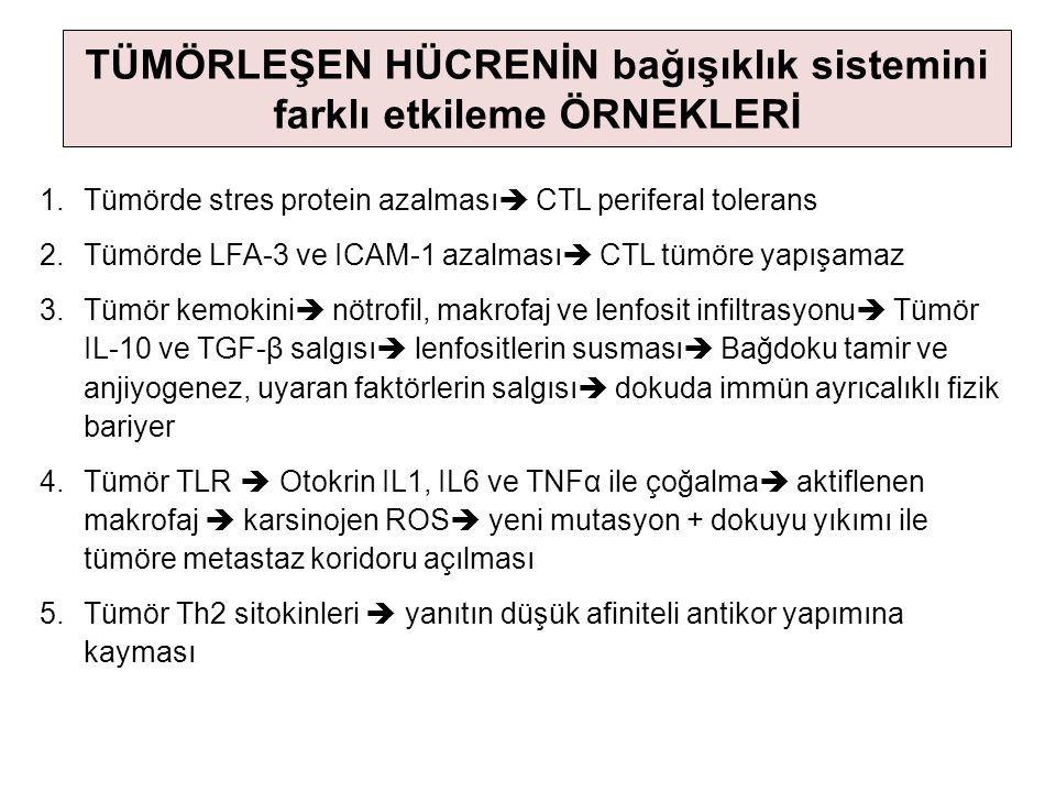 1.Tümörde stres protein azalması  CTL periferal tolerans 2.Tümörde LFA-3 ve ICAM-1 azalması  CTL tümöre yapışamaz 3.Tümör kemokini  nötrofil, makro