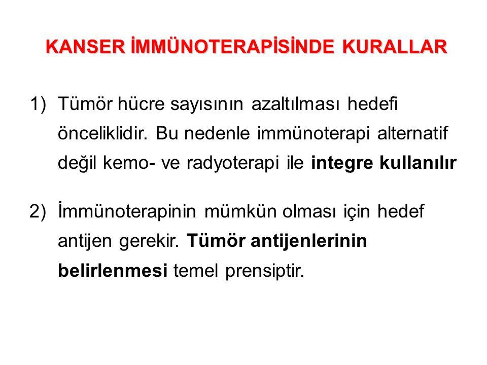 1)Tümör hücre sayısının azaltılması hedefi önceliklidir. Bu nedenle immünoterapi alternatif değil kemo- ve radyoterapi ile integre kullanılır 2)İmmüno