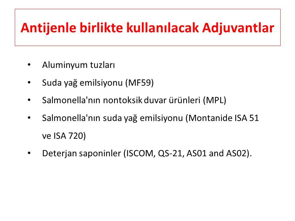 Antijenle birlikte kullanılacak Adjuvantlar Aluminyum tuzları Suda yağ emilsiyonu (MF59) Salmonella'nın nontoksik duvar ürünleri (MPL) Salmonella'nın