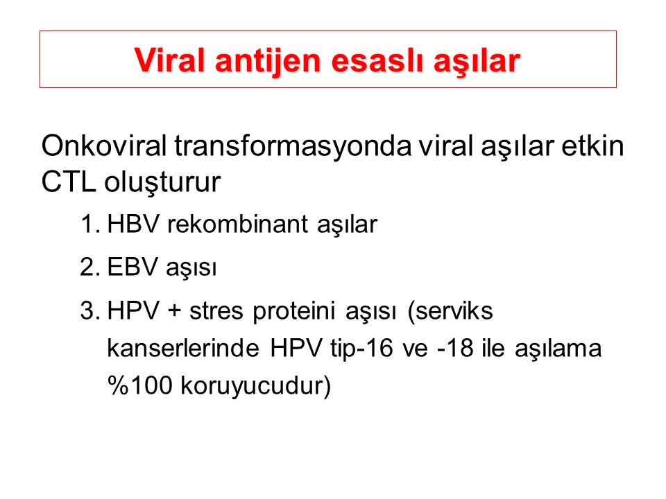 Viral antijen esaslı aşılar Onkoviral transformasyonda viral aşılar etkin CTL oluşturur 1.HBV rekombinant aşılar 2.EBV aşısı 3.HPV + stres proteini aş