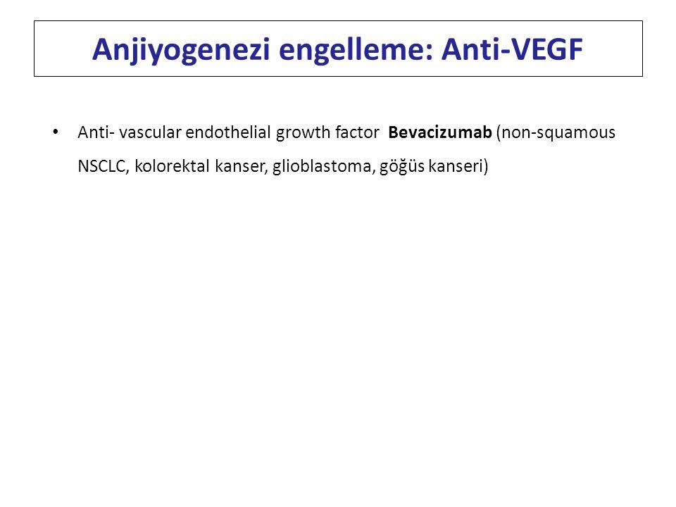 Anti- vascular endothelial growth factor Bevacizumab (non-squamous NSCLC, kolorektal kanser, glioblastoma, göğüs kanseri) Anjiyogenezi engelleme: Anti