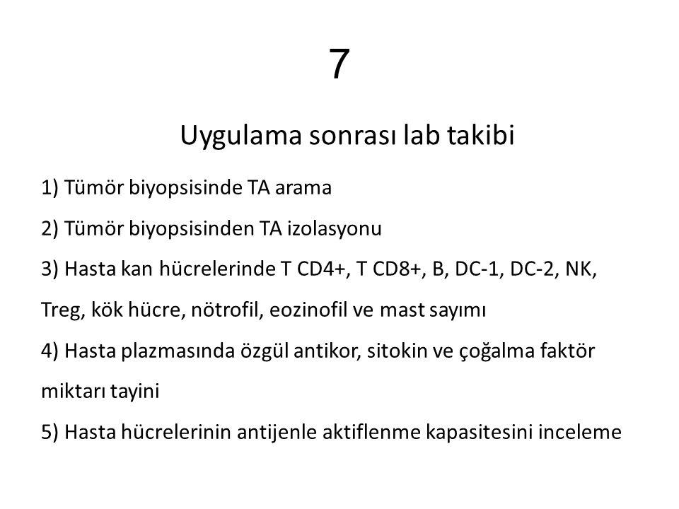 7 Uygulama sonrası lab takibi 1) Tümör biyopsisinde TA arama 2) Tümör biyopsisinden TA izolasyonu 3) Hasta kan hücrelerinde T CD4+, T CD8+, B, DC-1, D