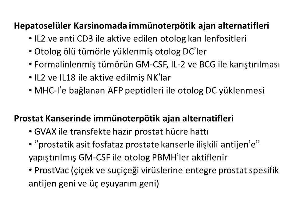 Hepatoselüler Karsinomada immünoterpötik ajan alternatifleri IL2 ve anti CD3 ile aktive edilen otolog kan lenfositleri Otolog ölü tümörle yüklenmiş ot