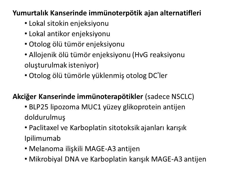 Yumurtalık Kanserinde immünoterpötik ajan alternatifleri Lokal sitokin enjeksiyonu Lokal antikor enjeksiyonu Otolog ölü tümör enjeksiyonu Allojenik öl