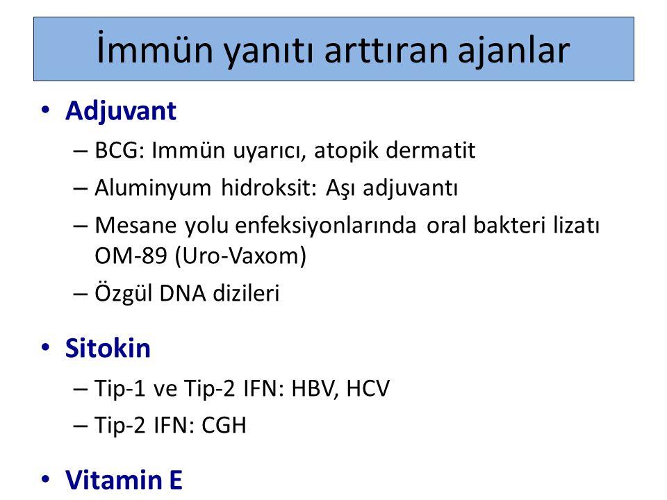 İmmün yanıtı arttıran ajanlar Adjuvant – BCG: Immün uyarıcı, atopik dermatit – Aluminyum hidroksit: Aşı adjuvantı – Mesane yolu enfeksiyonlarında oral
