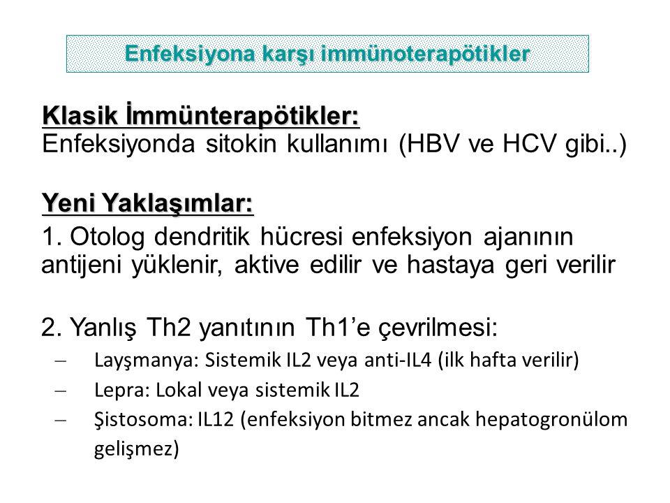 Klasik İmmünterapötikler: Enfeksiyonda sitokin kullanımı (HBV ve HCV gibi..) Yeni Yaklaşımlar: 1. Otolog dendritik hücresi enfeksiyon ajanının antijen