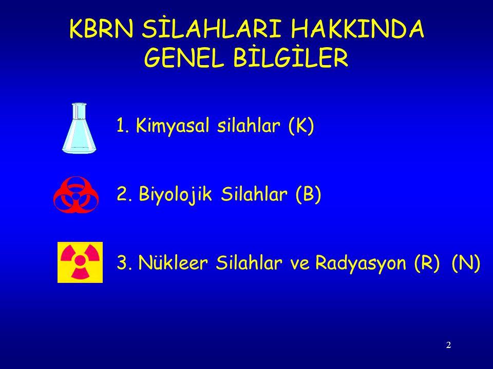 2 KBRN SİLAHLARI HAKKINDA GENEL BİLGİLER 1.Kimyasal silahlar (K) 2.