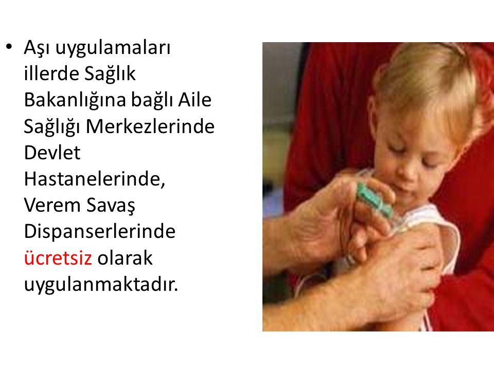 Aşı uygulamaları illerde Sağlık Bakanlığına bağlı Aile Sağlığı Merkezlerinde Devlet Hastanelerinde, Verem Savaş Dispanserlerinde ücretsiz olarak uygul