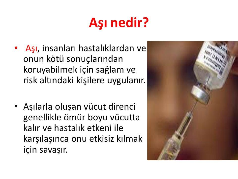 Aşı nedir? Aşı, insanları hastalıklardan ve onun kötü sonuçlarından koruyabilmek için sağlam ve risk altındaki kişilere uygulanır. Aşılarla oluşan vüc