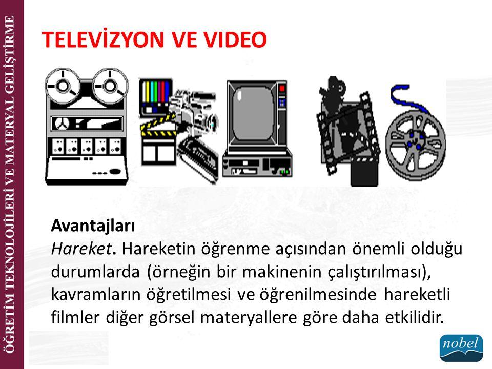 TELEVİZYON VE VIDEO Avantajları Hareket.