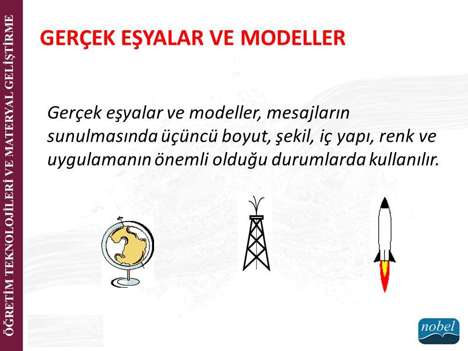 Gerçek eşyalar ve modeller, mesajların sunulmasında üçüncü boyut, şekil, iç yapı, renk ve uygulamanın önemli olduğu durumlarda kullanılır.