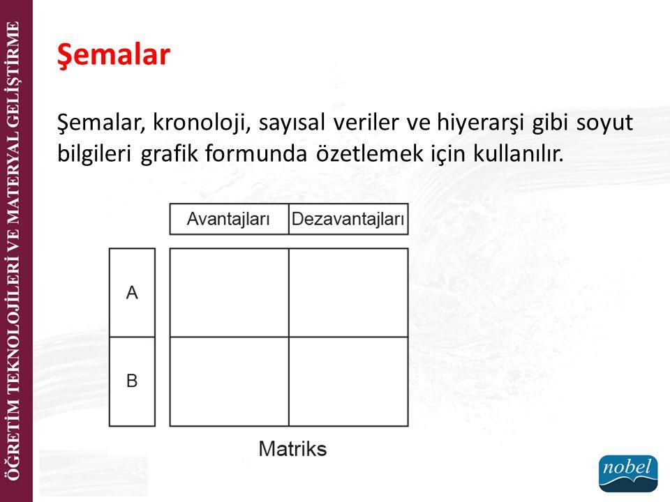 Şemalar Şemalar, kronoloji, sayısal veriler ve hiyerarşi gibi soyut bilgileri grafik formunda özetlemek için kullanılır.