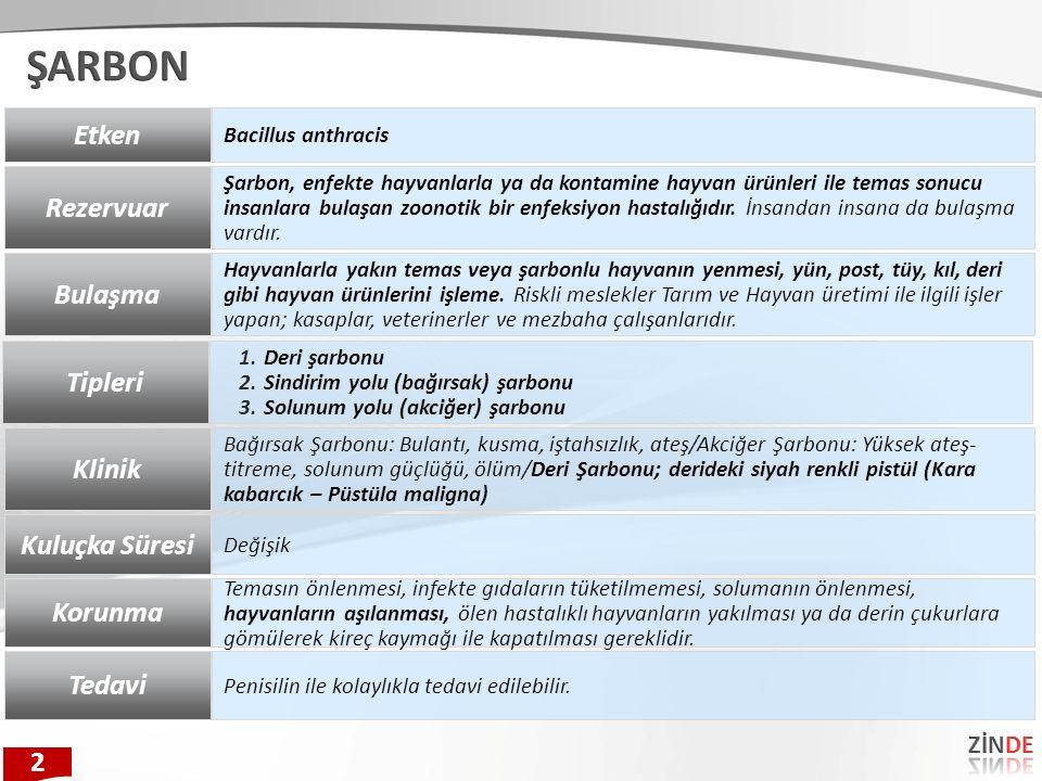 Etken Bacillus anthracis Rezervuar Şarbon, enfekte hayvanlarla ya da kontamine hayvan ürünleri ile temas sonucu insanlara bulaşan zoonotik bir enfeksi