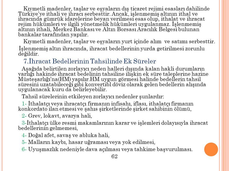 Kıymetli madenler, taşlar ve eşyaların dış ticaret rejimi esasları dahilinde Türkiye'ye ithali ve ihracı serbesttir. Ancak, işlenmemiş altının ithal v