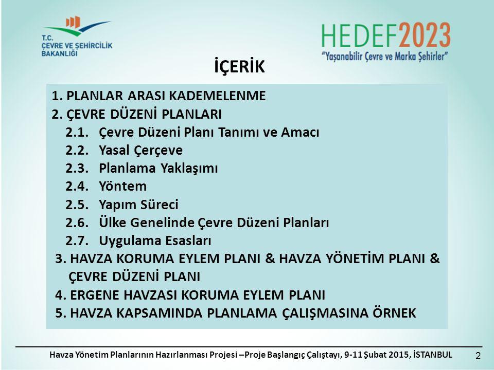 İÇERİK Havza Yönetim Planlarının Hazırlanması Projesi –Proje Başlangıç Çalıştayı, 9-11 Şubat 2015, İSTANBUL 1.