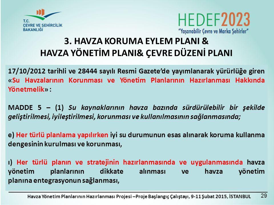 Havza Yönetim Planlarının Hazırlanması Projesi –Proje Başlangıç Çalıştayı, 9-11 Şubat 2015, İSTANBUL 3.