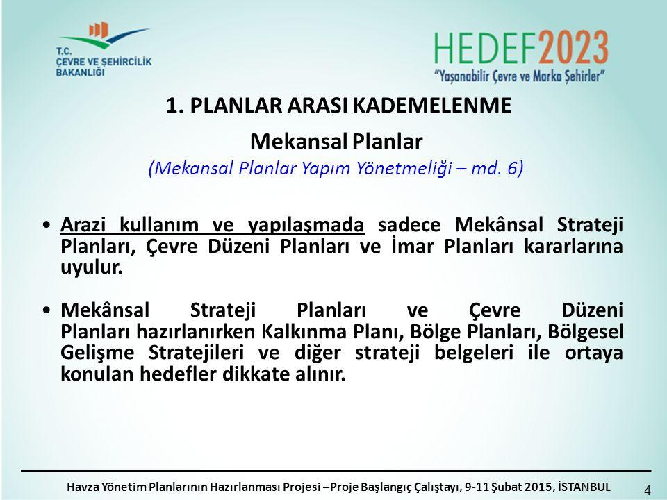 1. PLANLAR ARASI KADEMELENME Havza Yönetim Planlarının Hazırlanması Projesi –Proje Başlangıç Çalıştayı, 9-11 Şubat 2015, İSTANBUL 4 Mekansal Planlar (