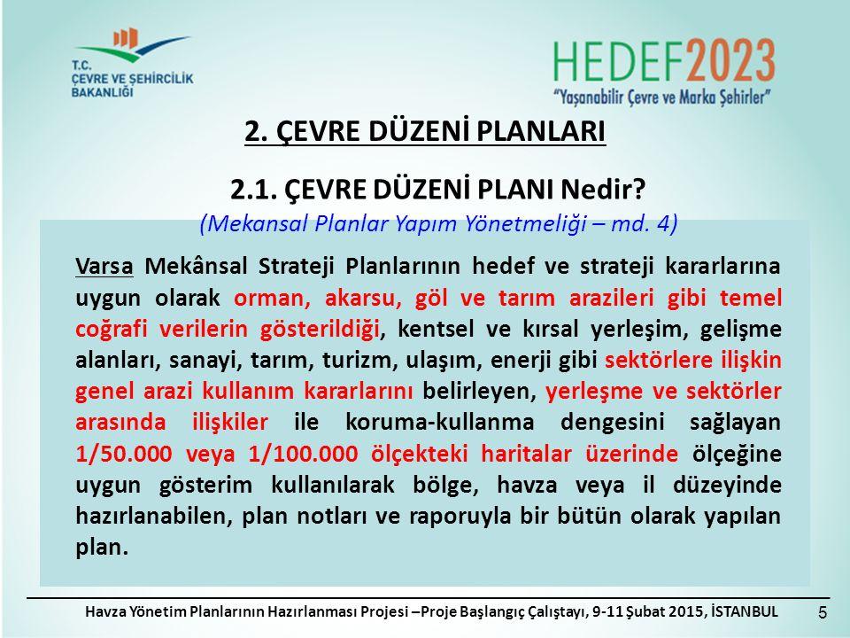 2. ÇEVRE DÜZENİ PLANLARI Havza Yönetim Planlarının Hazırlanması Projesi –Proje Başlangıç Çalıştayı, 9-11 Şubat 2015, İSTANBUL Varsa Mekânsal Strateji