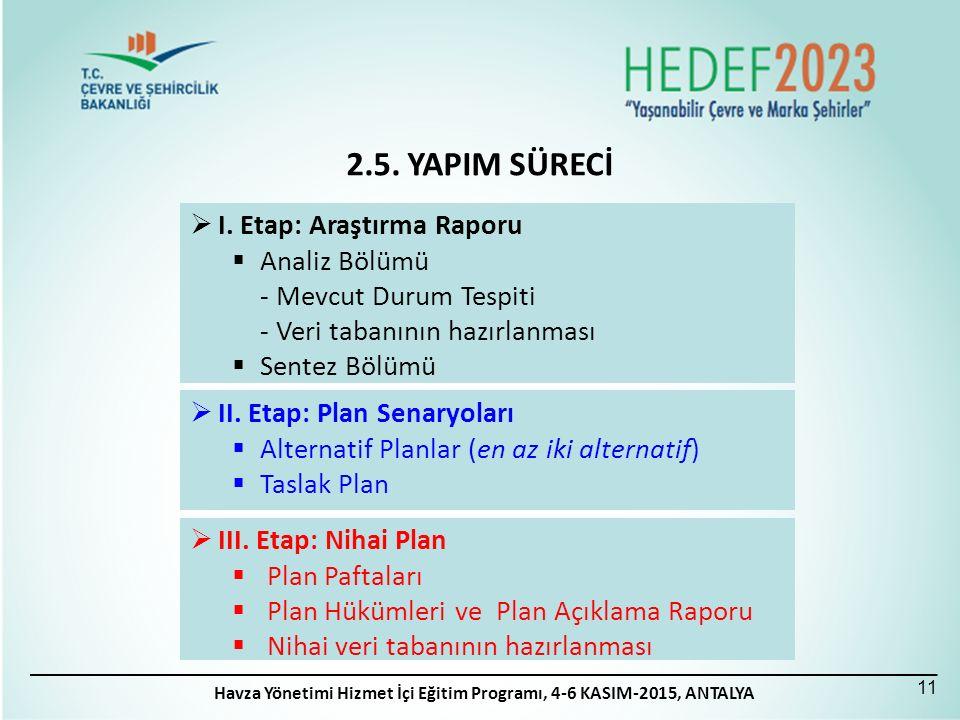  I. Etap: Araştırma Raporu  Analiz Bölümü - Mevcut Durum Tespiti - Veri tabanının hazırlanması  Sentez Bölümü  II. Etap: Plan Senaryoları  Altern