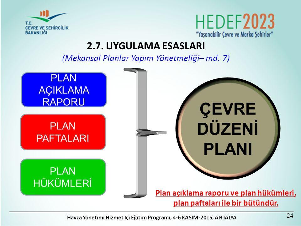 PLAN PAFTALARI PLAN AÇIKLAMA RAPORU PLAN HÜKÜMLERİ ÇEVRE DÜZENİ PLANI Plan açıklama raporu ve plan hükümleri, plan paftaları ile bir bütündür. 2.7. UY