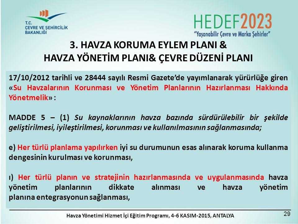 3. HAVZA KORUMA EYLEM PLANI & HAVZA YÖNETİM PLANI& ÇEVRE DÜZENİ PLANI 29 17/10/2012 tarihli ve 28444 sayılı Resmi Gazete'de yayımlanarak yürürlüğe gir