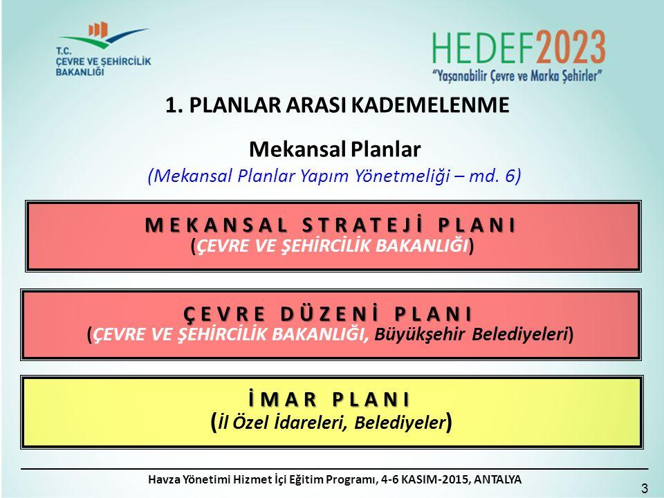 1.PLANLAR ARASI KADEMELENME 4 Mekansal Planlar (Mekansal Planlar Yapım Yönetmeliği – md.