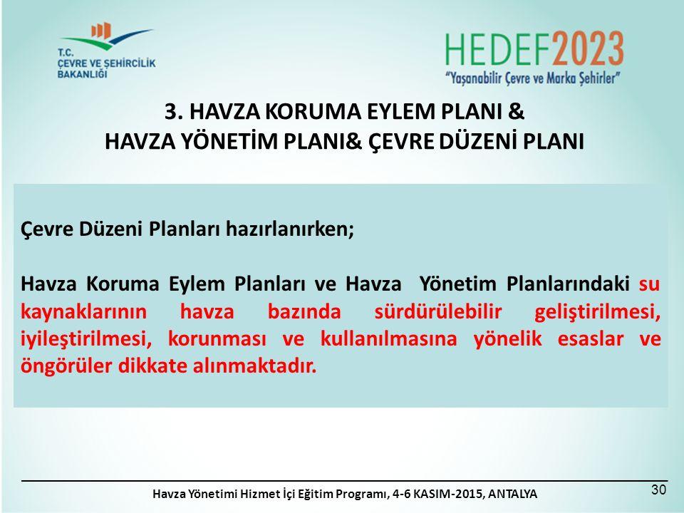 3. HAVZA KORUMA EYLEM PLANI & HAVZA YÖNETİM PLANI& ÇEVRE DÜZENİ PLANI 30 Çevre Düzeni Planları hazırlanırken; Havza Koruma Eylem Planları ve Havza Yön