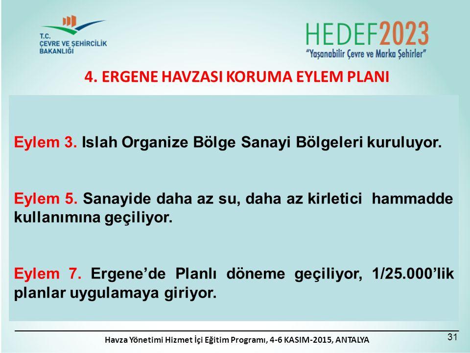 4. ERGENE HAVZASI KORUMA EYLEM PLANI 31 Eylem 3. Islah Organize Bölge Sanayi Bölgeleri kuruluyor. Eylem 5. Sanayide daha az su, daha az kirletici hamm