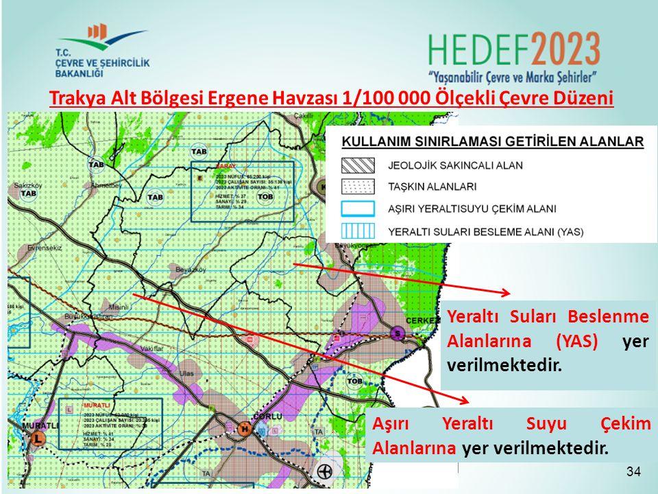 Trakya Alt Bölgesi Ergene Havzası 1/100 000 Ölçekli Çevre Düzeni Planı 34 Aşırı Yeraltı Suyu Çekim Alanlarına yer verilmektedir. Yeraltı Suları Beslen