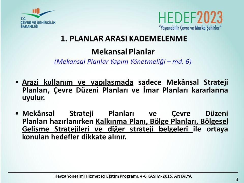 1. PLANLAR ARASI KADEMELENME 4 Mekansal Planlar (Mekansal Planlar Yapım Yönetmeliği – md. 6) Arazi kullanım ve yapılaşmada sadece Mekânsal Strateji Pl