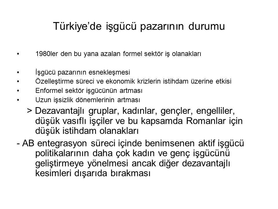 Sosyal güvenlik reformu Sağlık sistemindeki reformun iş ve istihdamdaki konuma bağlanması Yeşil kart sisteminde uygulamalardaki aksaklıklar Devletin sağlık sistemine ayırdığı bütçenin halen yoksul, işsiz ve enformel kesimde çalışan büyük çoğunluğu içerecek şekilde düşünülmemesi Primli sisteme dahil olmanın çok kısıtlı olan formel sektör istihdamına ilişkin olması halbuki Türkiye'de Roman yurttaşlar dahil büyük bir dezavantajlı kesimin bu şartı yerine getirmekte zorlanması Primsiz güvence sisteminin daha çok sosyal yardımlar başlığı altında geliştirilip güvencesiz ve esnek istihdam konusunu kapsamaması > İş ve istihdamda formel bir iş durumu olamayan Roman yurttaşların sosyal güvence ve sağlık kapsamından da dışlanması