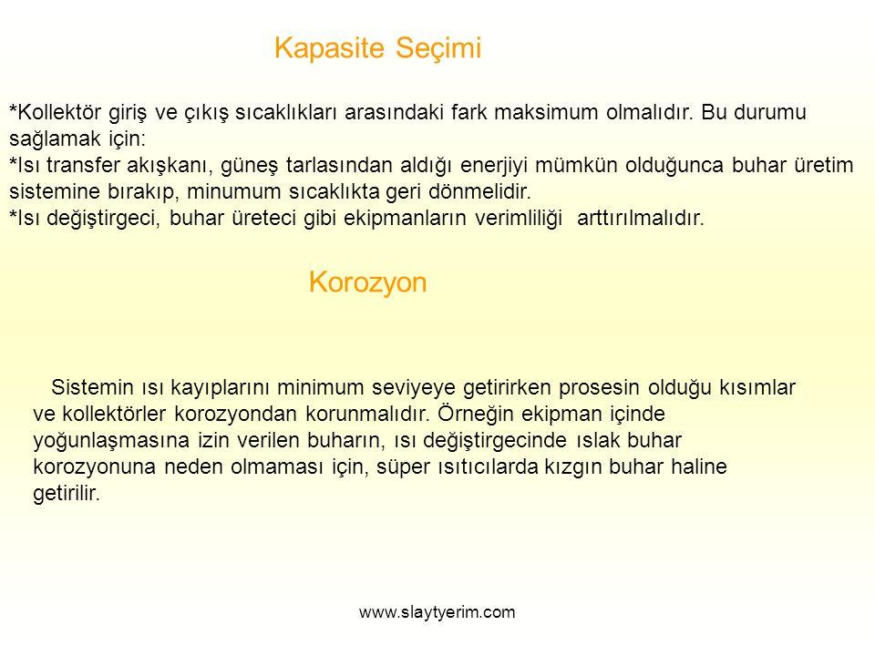 www.slaytyerim.com Kapasite Seçimi *Kollektör giriş ve çıkış sıcaklıkları arasındaki fark maksimum olmalıdır.