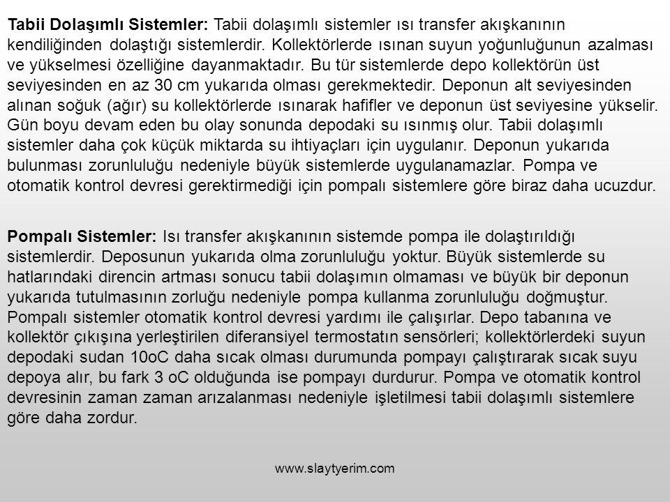 www.slaytyerim.com Tabii Dolaşımlı Sistemler: Tabii dolaşımlı sistemler ısı transfer akışkanının kendiliğinden dolaştığı sistemlerdir. Kollektörlerde