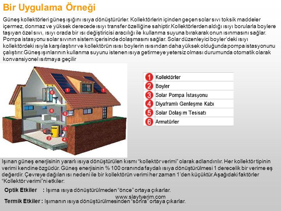 www.slaytyerim.com Bir Uygulama Örneği Güneş kollektörleri güneş ışığını ısıya dönüştürürler. Kollektörlerin içinden geçen solar sıvı toksik maddeler