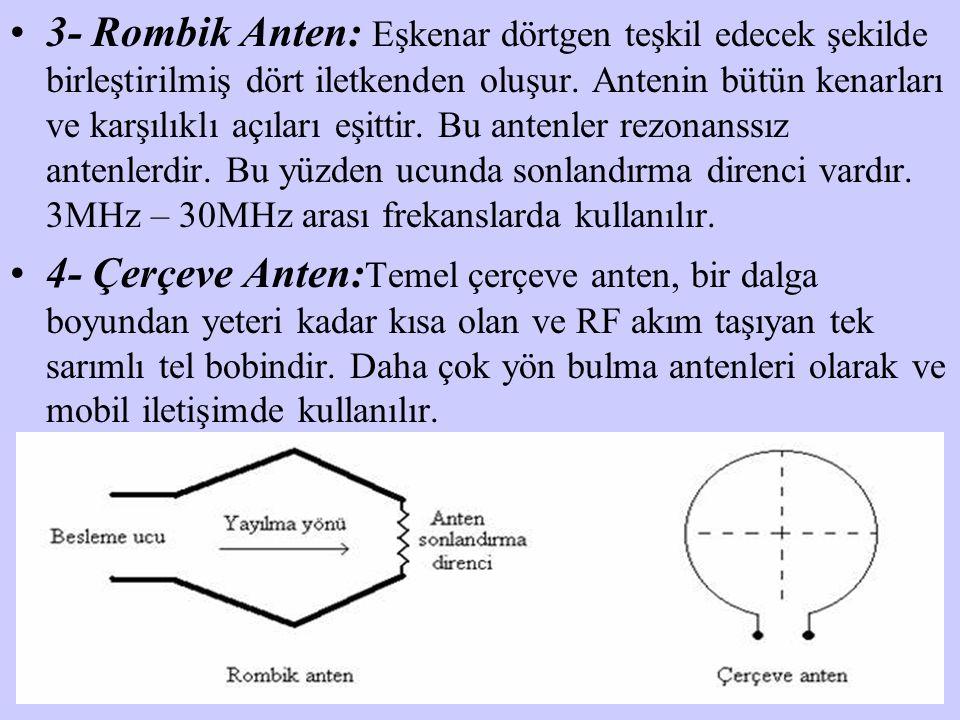 3- Rombik Anten: Eşkenar dörtgen teşkil edecek şekilde birleştirilmiş dört iletkenden oluşur. Antenin bütün kenarları ve karşılıklı açıları eşittir. B