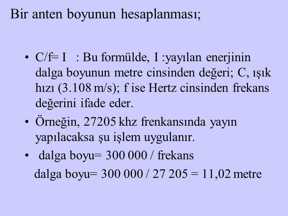 Bir anten boyunun hesaplanması; C/f= I : Bu formülde, I :yayılan enerjinin dalga boyunun metre cinsinden değeri; C, ışık hızı (3.108 m/s); f ise Hertz