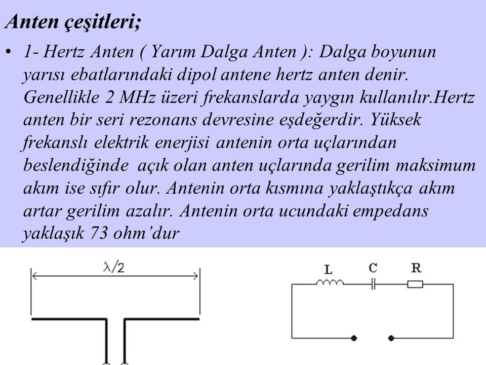 Anten çeşitleri; 1- Hertz Anten ( Yarım Dalga Anten ): Dalga boyunun yarısı ebatlarındaki dipol antene hertz anten denir. Genellikle 2 MHz üzeri freka