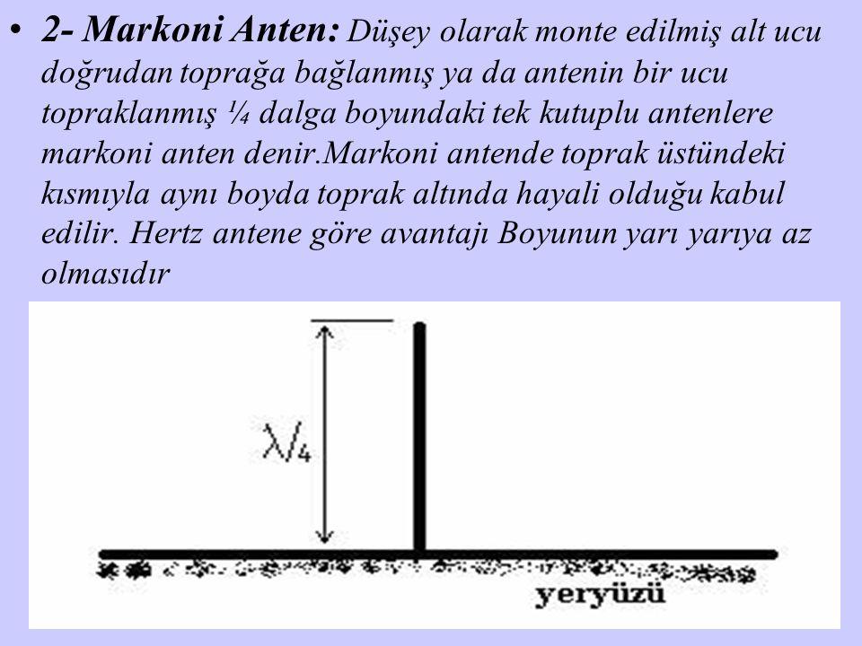 2- Markoni Anten: Düşey olarak monte edilmiş alt ucu doğrudan toprağa bağlanmış ya da antenin bir ucu topraklanmış ¼ dalga boyundaki tek kutuplu anten