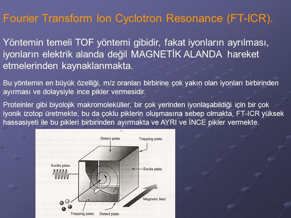 Fourier Transform Ion Cyclotron Resonance (FT-ICR). Yöntemin temeli TOF yöntemi gibidir, fakat iyonların ayrılması, iyonların elektrik alanda değil MA