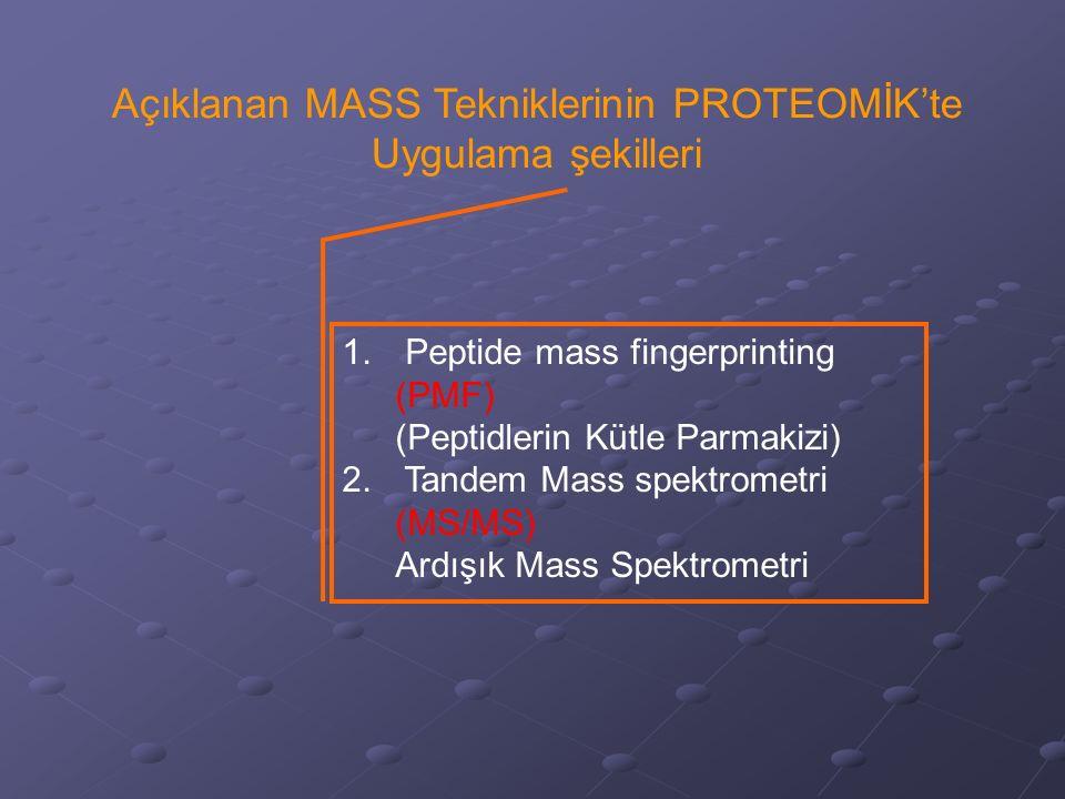 Açıklanan MASS Tekniklerinin PROTEOMİK'te Uygulama şekilleri 1. Peptide mass fingerprinting (PMF) (Peptidlerin Kütle Parmakizi) 2. Tandem Mass spektro