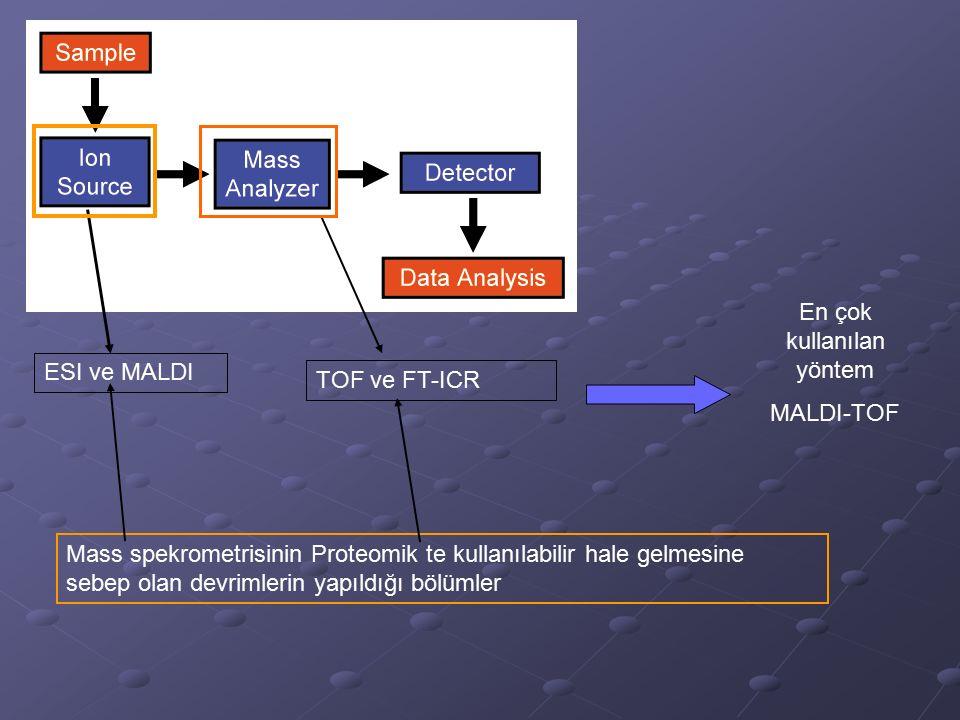Mass spekrometrisinin Proteomik te kullanılabilir hale gelmesine sebep olan devrimlerin yapıldığı bölümler ESI ve MALDI TOF ve FT-ICR En çok kullanıla