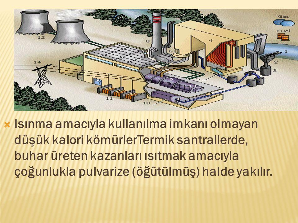  Isınma amacıyla kullanılma imkanı olmayan düşük kalori kömürlerTermik santrallerde, buhar üreten kazanları ısıtmak amacıyla çoğunlukla pulvarize (öğ