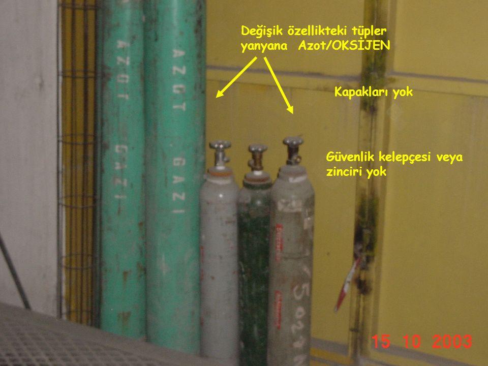29.05.2016ASG64 Stok alanında değil, açıkta ve güneşe maruz, kapakları takılı değil Değişik özellikteki tüpler yanyana Asetilen/Oksijen