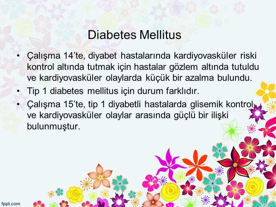 Diabetes Mellitus Çalışma 14'te, diyabet hastalarında kardiyovasküler riski kontrol altında tutmak için hastalar gözlem altında tutuldu ve kardiyovasküler olaylarda küçük bir azalma bulundu.